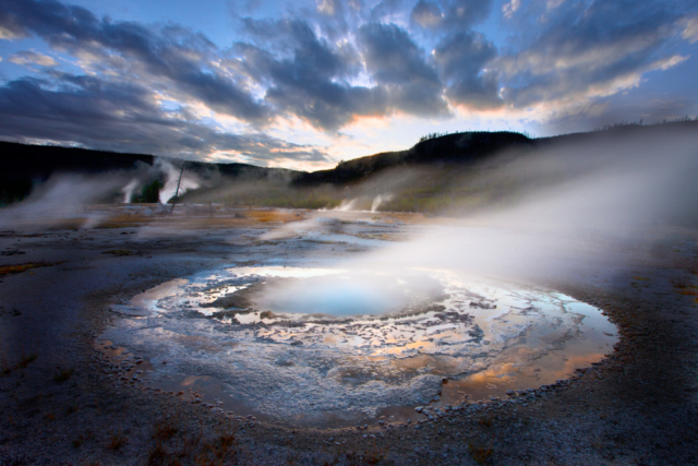 Mustard Spring at sunset, Biscuit Basin, Yellowstone National Park