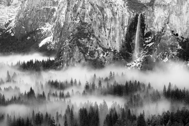 Bridalveil Falls and Yosemite Valley floor in fog, Yosemite National Park, California
