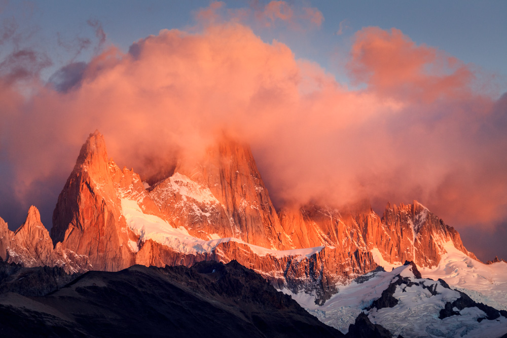 Clearing storm over the Fitz Roy massif in sunrise light, Los Glaciares National Park, Argentina