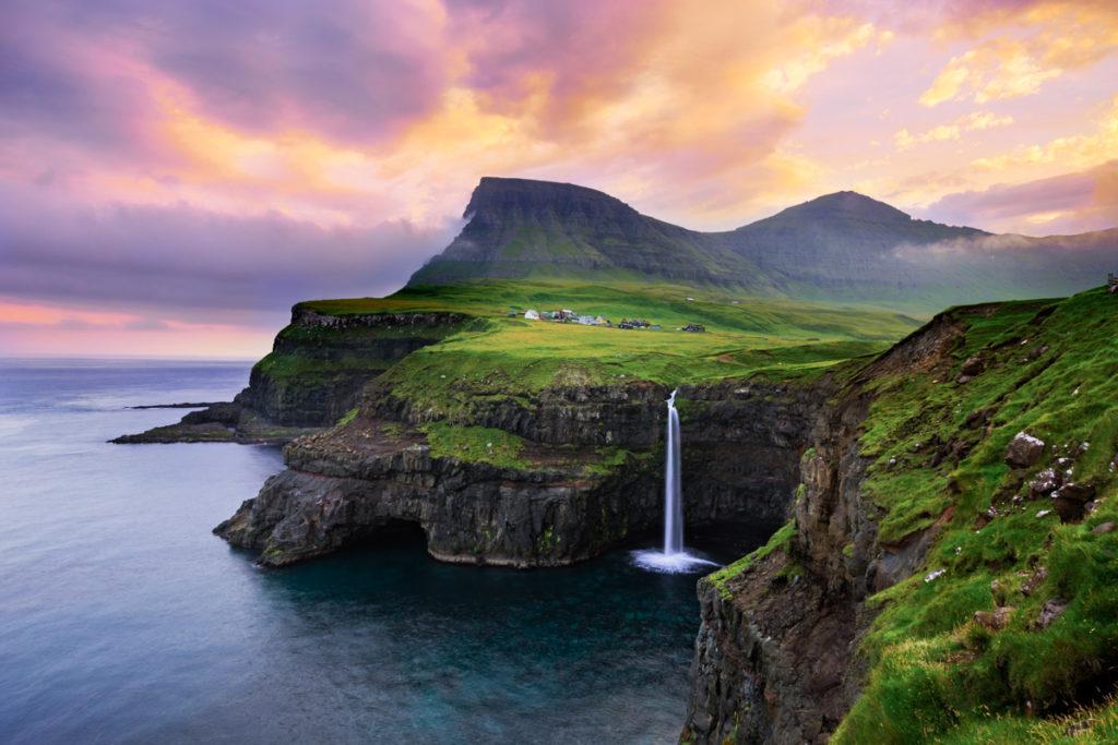 Gásadalur on western Vágar, Faroe Islands