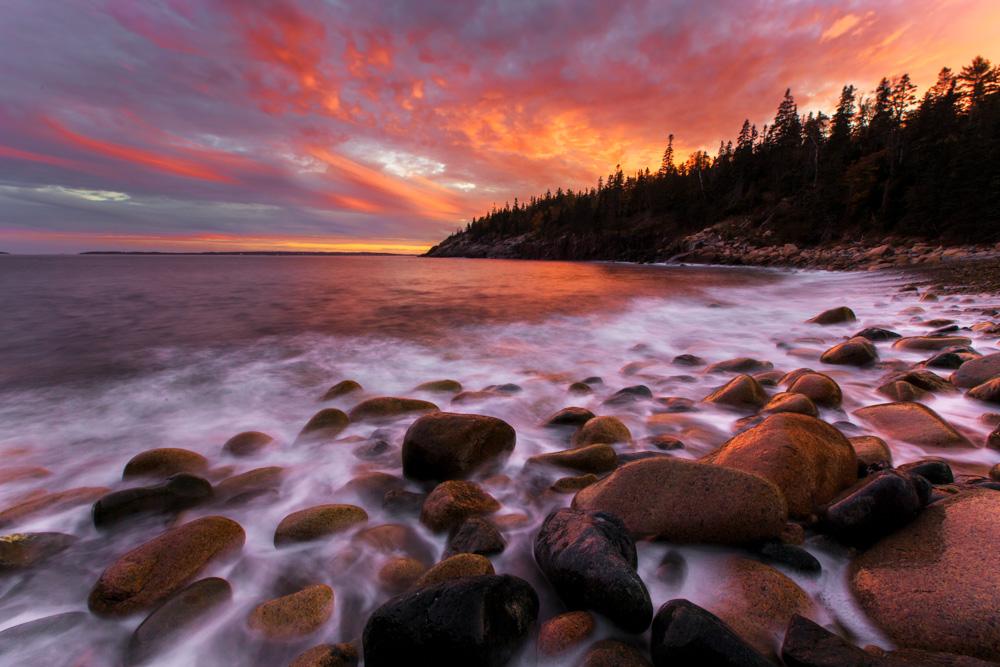 Sunset at Hunters Beach Cove, Acadia National Park, Maine USA