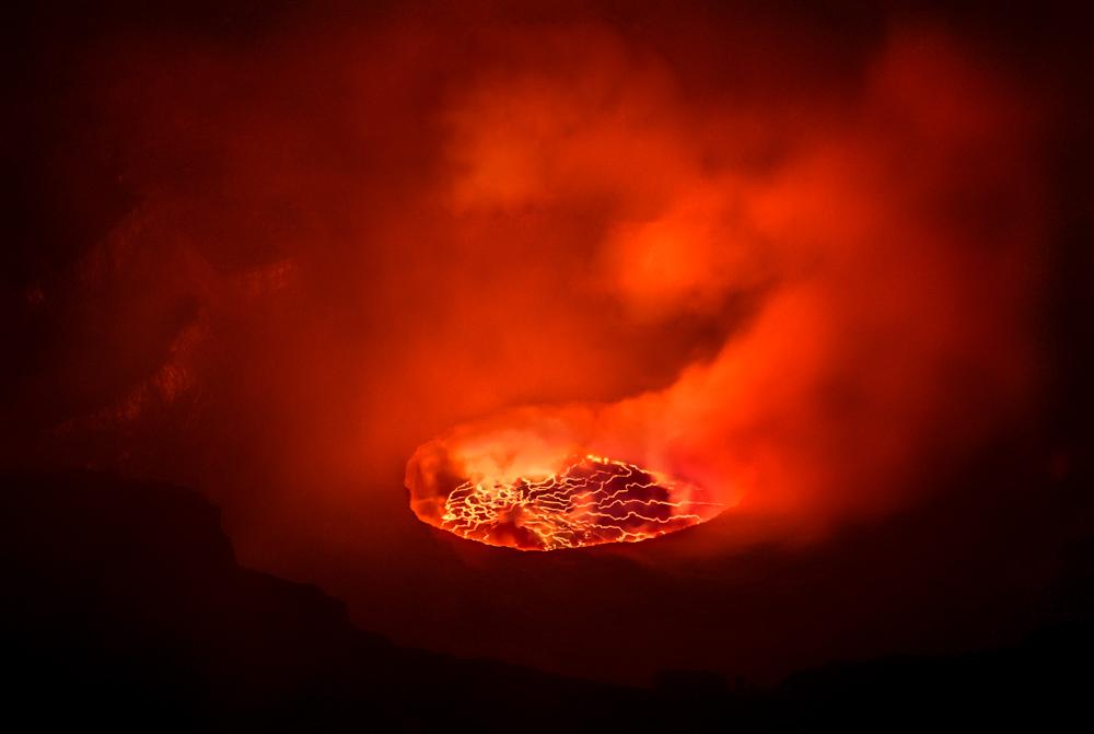 The caldera of Mount Nyiragongo, Democratic Republic of Congo